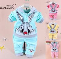 1 Sets retail. 2015 Spring/Autumn baby set cartoon rabbit velvet set twinset long sleeve set hoodie and pant children clothing