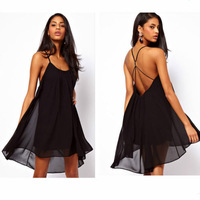 Fashion Novelty Halter Womens Sexy Backless Sling Strap Chiffon Clubwear Beach Swing Sundress Mini Dress Plus Size S to XL E4874