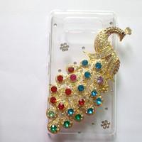 Diamond Phoenix Case for NOKIA Lumia 820 N820  10 Colors Perfect fitting Plastic Transparent Case with Rhinestone Peacock ,
