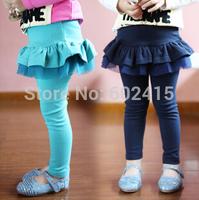 5pcs Cotton Girls Leggings with Ruffles Skirt Skirt Leggings for kIDS Children Baby Girl Wear Sky blue Navy e890