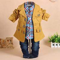 RETAIL  baby clothing set autumn 100%cotton coat+ long sleeve plaid shirts+ jeans 3pcs baby boy sets infantis