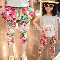 5pc/lot Fashion Casual Floral Print Girls Flower Harem Pants / Leggings Children Casual Trousers e825
