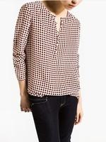 2014 New Women Ladies Brief Vintage Plaid Print Long Sleeve Blouse Casual V Neck Long Sleeve Brand Summer Slim Tops Shirt A630