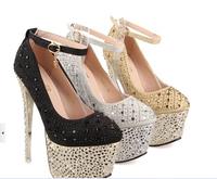 2014 new fashion  party heel shoes platform shoes 16cm heel 6cm platform sparkle crystal rhinestone shoes