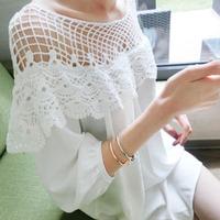 2014 Women's sexy dress  cutout mesh lace crochet cute one-piece dress strapless waist loose