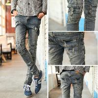 Free shipping! 2014 new retro fashion feet pants washed jeans Slim Men