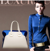 2014 new arrival patchwork handbags for woman color block woman's totes shoulder bags day clutches