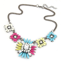 New Arrival Neon Resin Stone Crystal Flower Necklace Fashion Women Choker Necklace Accessories