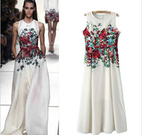 2014 Women Ladies high Street Red Floral Print Sleeveless Runway Long Dress Vestidos Sexy Party Club Evening White Dress A645