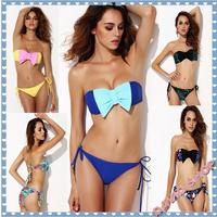 FREE SHIPPING 6 Colors 2014 Summer New Bow Hit color Bra Bikinis set Women Beach Bathing push up piece split Print Swimwear Set