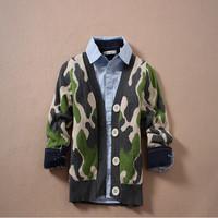 6pcs/lot kids jackets coats  2014 spring  autumn  Boys Camouflage double jacquard knit cardigan sweater