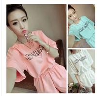 Free shipping new Korean fashion female fresh candy-colored slacks bat sleeve round neck letters Siamese shorts