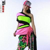 2014 New Fashion Brand hip hop top dance female Jazz ds costume performance wear Tassel Sexy oblique womens neon tassel t-shirt