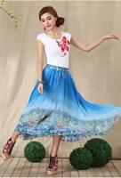 2014 New Bohemian National Wind Printing Chiffon Skirt Waist Skirts Free Size 8962#V813 Free Shipping