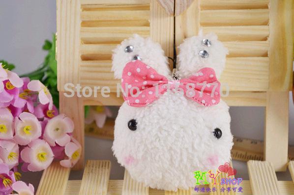 50pcs/lot New Fashion phone/bag pendant Cute Lovers rice Rabbit 10cm plush toy Rice balls rabbit Plush toys small wedding gift(China (Mainland))