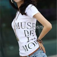 women clothing t-shirt summer 2014 new arrival hot sale 100% cotton short sleeve letter print women's t shirt top,plus size XXXL