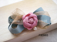 "FreeShipping 12pcs/lot 5.5"" color contrast large ribbon bow hair clip fashion rose flower hair clip hair barrette F80965 4color"