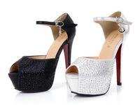 Free Shipping New Flicker Rhinestone Sandals Euramerican High Heeled Platform Shoes Ultrahigh Pumps Sexy Nightclub Banquet Heels