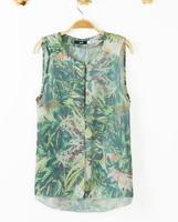 2014 fashion new Summer Shirt Women Sleeveless Shirt Printed Chiffon Crepe Blouse Women Blouses#LY140