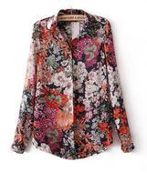 2014 fashion new  Collection  Summer Vintage Floral Print Shirt Women Long Sleeve Chiffon Blouses Shirts #C0725
