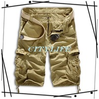 cool men shorts canvas loose army style pleated with big pockets west cowboy shorts 2014 summer autumn men free shipping