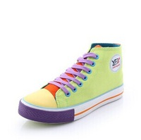 2014 women Candy color sneaker canvas shoes for women high help flat canvas shoes C207 free shipping