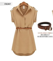 2014 summer new women's european and american turn-down collar short-sleeved loose chiffon sashes Cute dress free shipping