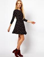 2014 fashion new European style bird prints seventh Sleeve plus size dress with belt chiffon slim za dress#LY106