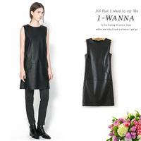 2015 Uk Women's Sleeveless Leather Casual Dress Wholesale Novidades Vestidos Ropa Mujer China Imported Clothes