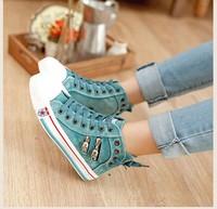 2014 Spring washed denim high-top canvas shoes women shoes Korean fashion flat heel Women's Casual Shoes