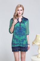2014 Summer New Fashion in Europe and America Women's Silk Dress Sleeve Size L-XXXL 3019 - Free Shipping