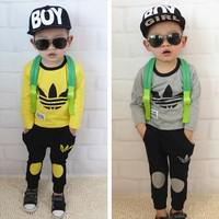 2014 Autumn leisure baby boys clothing set children's suit boy  T shirt+ pants girl kids clothes hot sale