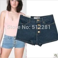 2014 brand women shorts American apparel aa Women vintage high waist  denim female distress cutoffs shorts