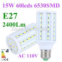 10pcs E27 15W AC110V 2400Lm 5630SMD 60 LED Corn light Energy saving LED Bulb lamp Cold/Warm white For Home Garden Free Shipping