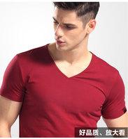 2014 new men's v-neck T-shirt modal solid workmanship comfortable to wear men's T-shirt