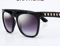 The new 2014 women myopia sunglasses big frame vintage metal skull mirror individuality brand sunglasses glasses legs