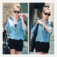 2014 new Spring fashion Turn down collar shoulder gauze iPatchwork Long Loose Denim Shirt Chiffon Blouse for women   C0623