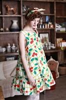 Green plaid red dot Cherry Loose Cotton A Dress Cute Doll models Dress