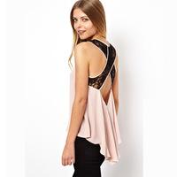 Cross-stitching Lace Sleeveless Chiffon Shirt Sexy back Dovetail Design Backless Women Blouses Plus Size Tops Ladies Shirt 2014