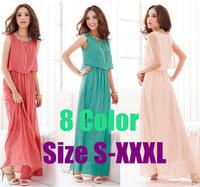 The bargains! Plus Size S-XXXL, 8 Color, Elegant Sleeveless Chiffon Bohemian Beach Long Summer Dress Fashion Women 2014 Clothes