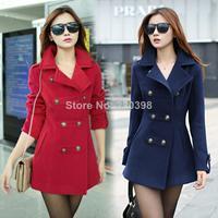 2014 spring women's winter long slim cotton lapel overcoat thick warm coats outerwear coats Woolen outerwear overcoat female8587