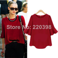 2014 new fashion European and American style loose solid O-neck ruffles chiffon blouse women summer blouse1271