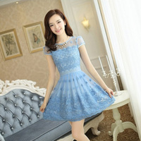 New 2014 summer women's dresses vest package hip Printed casual dress women 4 Color Free shipping