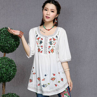 2014 fashion embroidery casual blouses women batwing short sleeve cotton o neck t shirt ethnic style WFS916