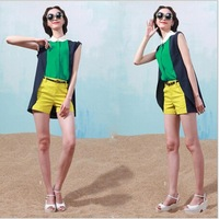 2014Summer Fashion Women all match CONTRAST COLOR turn down collar patchwork vest   shirt +shorts  two piece sets   #C0767