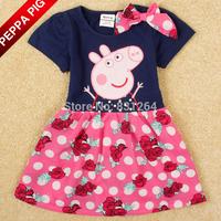 2014 Girls Summer Peppa Pig Party Dress Lovely Bow Flowers Polka Dot Baby Girl Princess Dresses vestido Drop Shipping