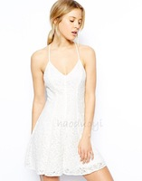 HIGH QUALITY! White lace strap backless women's dress girl fashion dress XS-XXL, 141515961