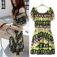 2014 summer fashion multicolour print Floral Printed slit neckline strapless slim short-sleeve dress women's for female  NJS167