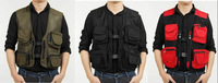 Free shipping mens  Women single breasted breathable casual fishing  outdoor advertising vest photography vest
