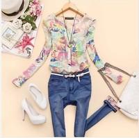 Free ship 2014New women long sleeve blouse v-neck chiffon female blouses flower printed shirts women clothing blusas femininas